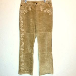 Vintage Suede Pants Leather Floral Embroidered Tan